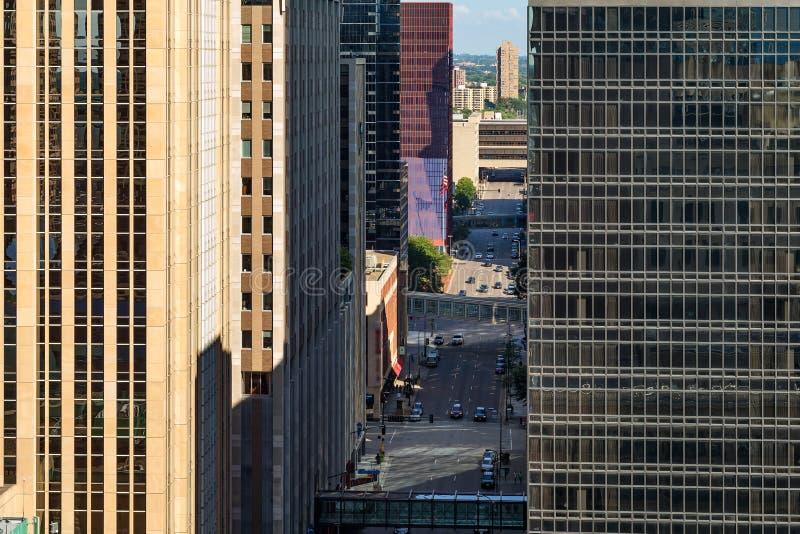 Abstrakcjonistyczny widok miasto architektura Minneapolis, usa zdjęcie stock
