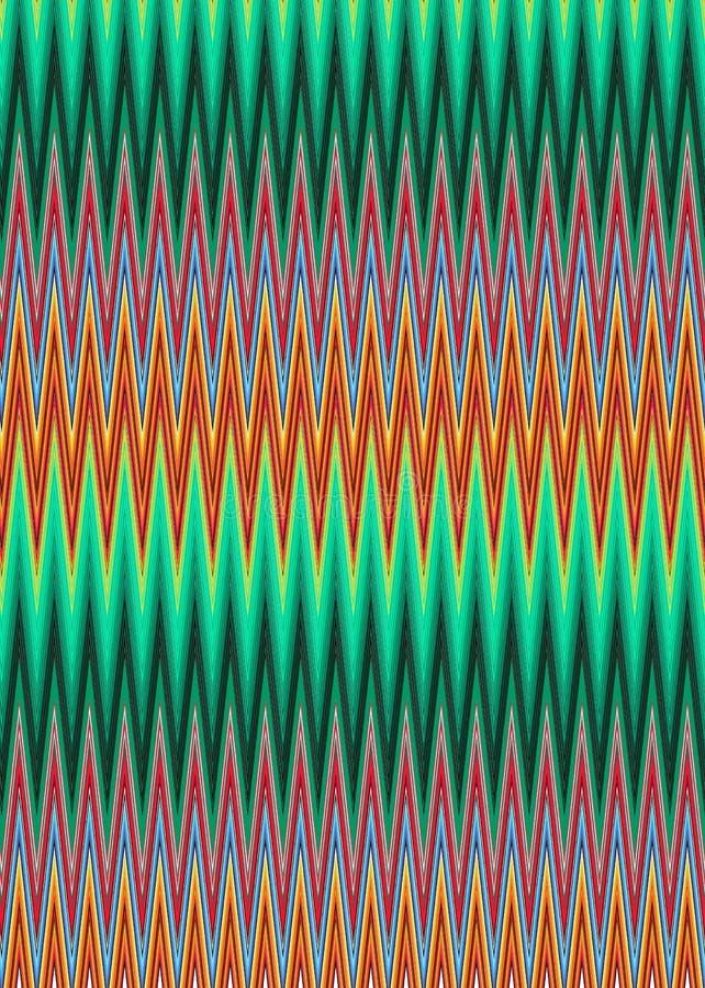 Abstrakcjonistyczny wielo- barwiony geometryczny trykotowy zygzakowaty wzór, wektorowa ilustracja ilustracji