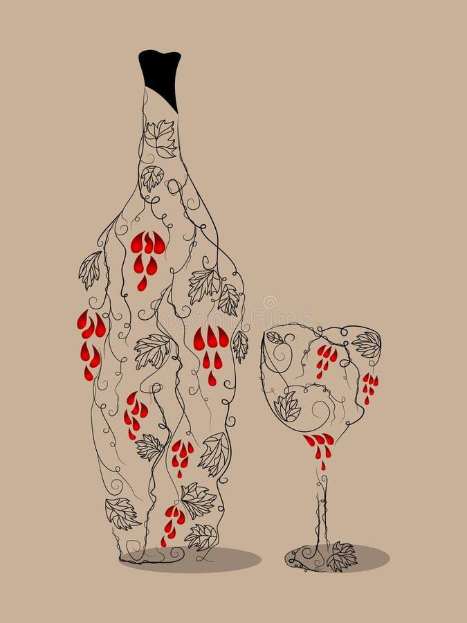 abstrakcjonistyczny wino ilustracja wektor