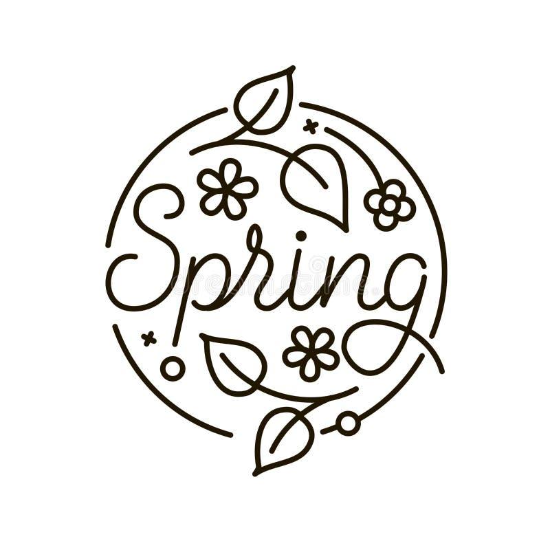 Abstrakcjonistyczny wiosna logo w mieszkanie stylu z kwiatami, liście Czarny i biały graficzny kwiecistego projekta element równi ilustracji