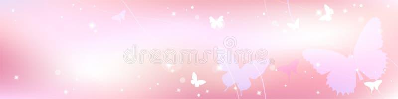 Abstrakcjonistyczny wiosny lata tło w świetle - różowy pastelowy kolor, słodki miłość temat z motylem ilustracja wektor