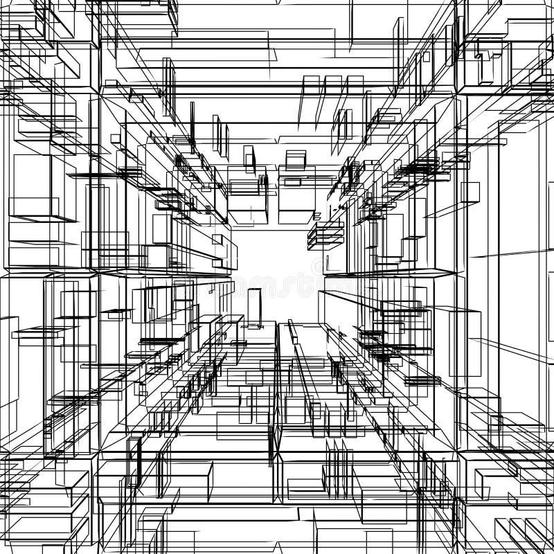 abstrakcjonistyczny wireframe ilustracja wektor