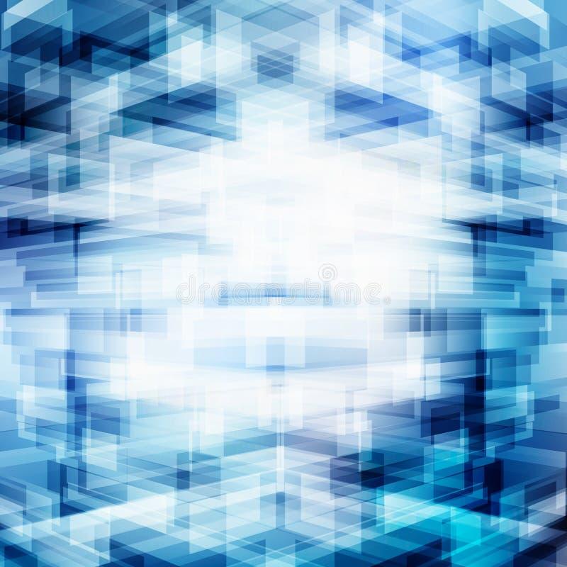 Abstrakcjonistyczny wirtualny technologii 3D futurystyczny geometryczny pokrywać się na błękitnym tle z oświetleniem Cyfrowych da royalty ilustracja