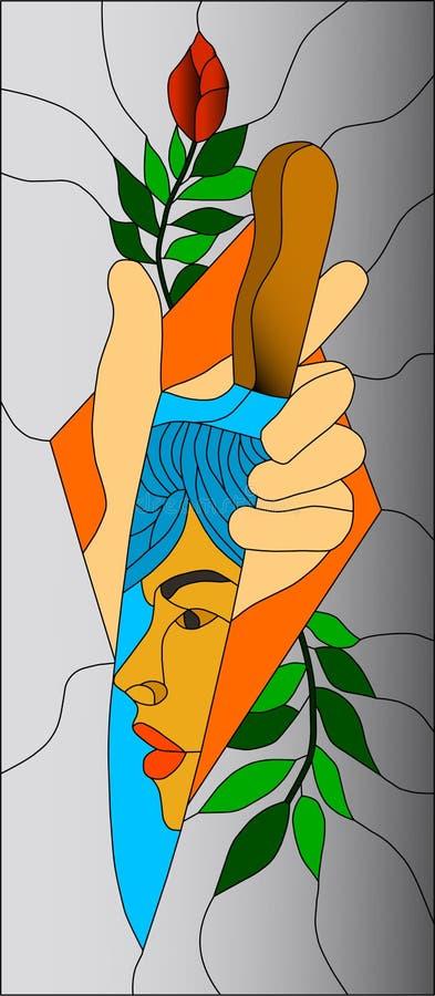 Abstrakcjonistyczny witraż, mozaika wzór z nożem, twarzy czerwieni róża i jasnopopielaty tło, ilustracji