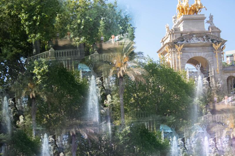 Abstrakcjonistyczny wizerunek Ciutadella park obraz royalty free