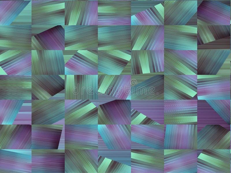 Abstrakcjonistyczny wizerunek multicoloured prostokąty w odcieniach błękit, zieleń i mauve, royalty ilustracja