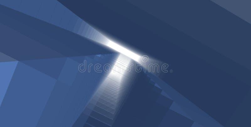 Abstrakcjonistyczny wizerunek nowo?ytny szklany budynek Architektoniczny zewn?trzny szczeg?? przemys?owy budynek biurowy royalty ilustracja