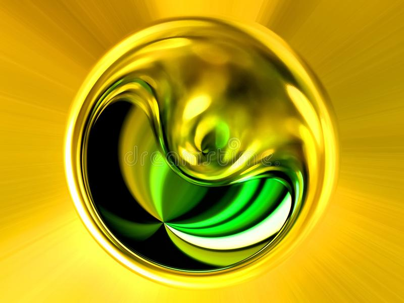 Abstrakcjonistyczny wizerunek piłka w przestrzeni z stubarwnymi promieniami ilustracji