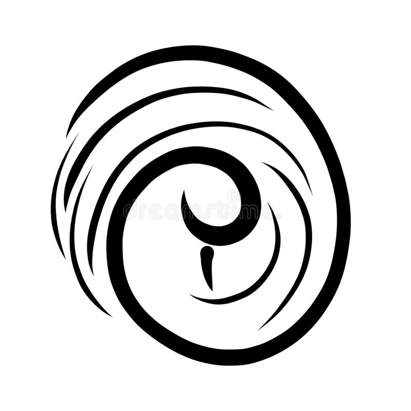 Abstrakcjonistyczny wizerunek ptak, spirala i obracanie, czerń wzór ilustracji
