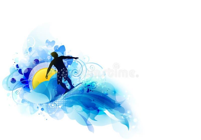 Abstrakcjonistyczny wizerunek ruch, prędkość i fala, Czarna sylwetka surfingowiec na tle słońce ilustracja wektor