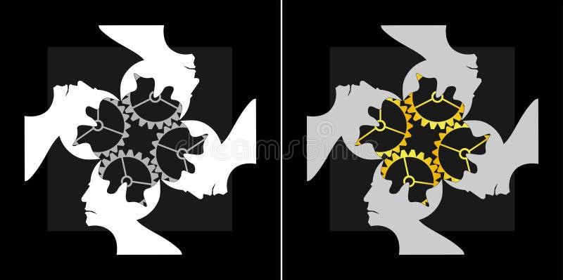 Abstrakcjonistyczny wizerunek wspólny inteligenci drużyny pracy logo ilustracji