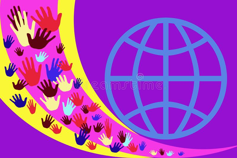 Abstrakcjonistyczny wizerunek z stubarwnymi rękami na tle koloru żółtego i purpur lampasy ilustracji