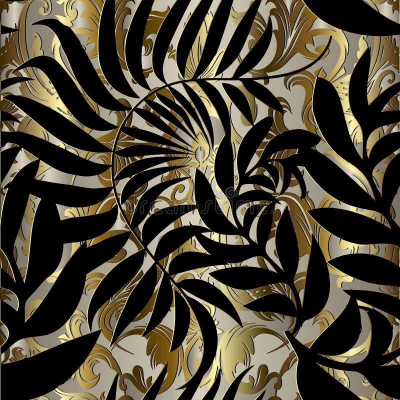 Abstrakcjonistyczny złocisty barokowy wektorowy bezszwowy wzór Wzorzyści ornamen royalty ilustracja