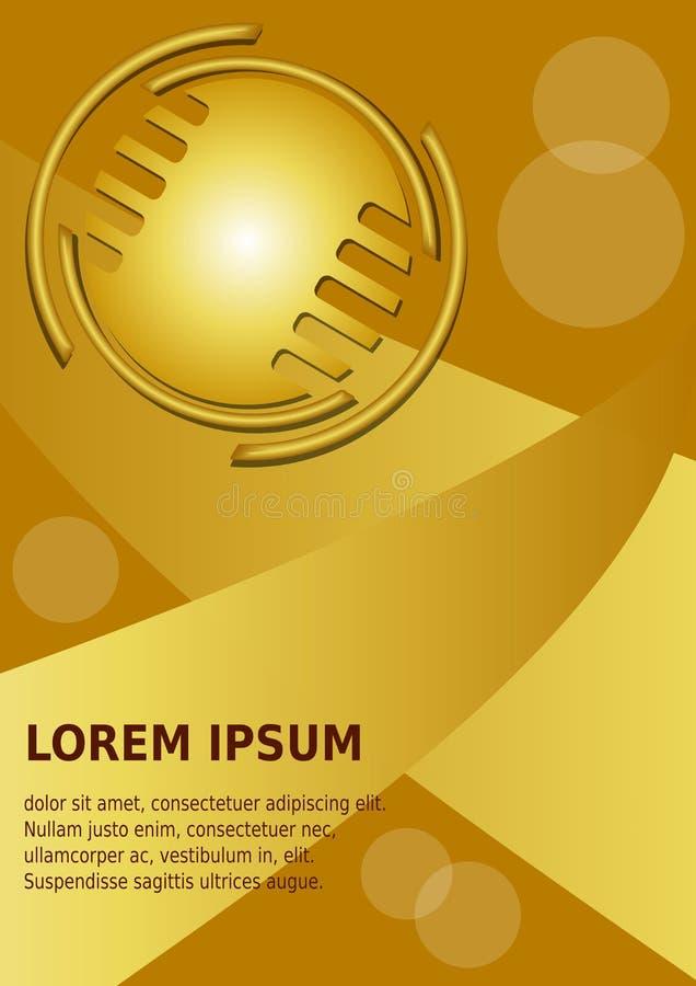 Abstrakcjonistyczny złocisty tło z złoty okrąg embossed logotypem, 3d skutek Książkowej pokrywy lub ulotki tło w luksusie ilustracji