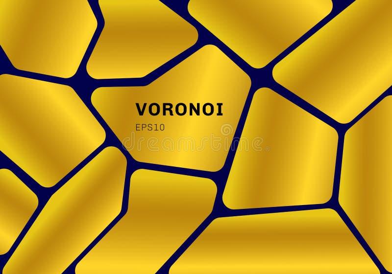 Abstrakcjonistyczny złocisty voronoi diagram na zmroku - błękitny tło Geometryczny mozaiki tło, tapeta i royalty ilustracja