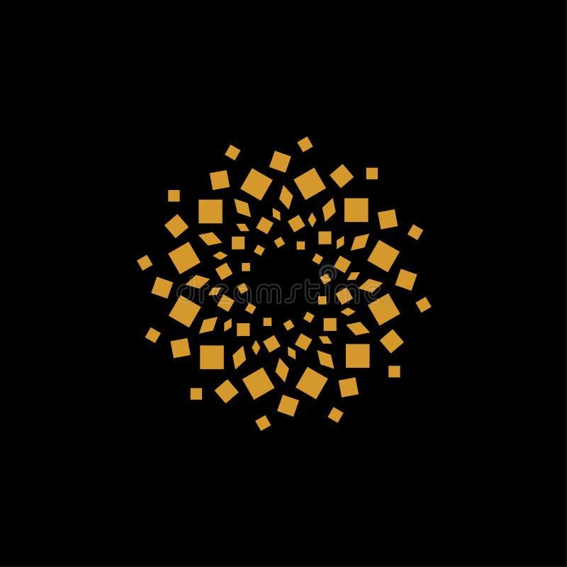 Abstrakcjonistyczny złota pudełka kształt - projektuje elementu logo wektor royalty ilustracja