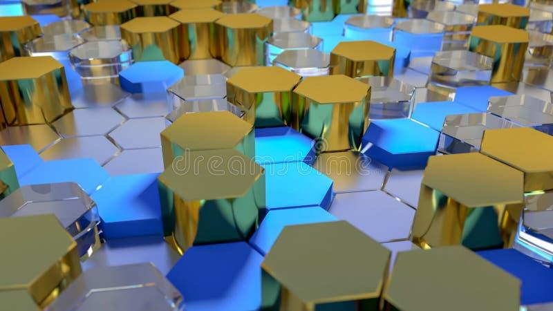 Abstrakcjonistyczny złoto i błękitnego sześciokąta geometryczna powierzchnia 3 d czynią obraz royalty free