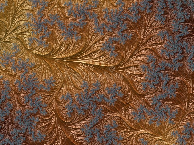 Abstrakcjonistyczny złoto i błękitny kwiecisty textured fractal wzór 3d odpłacają się tło dla plakatów, strony internetowej i ulo royalty ilustracja