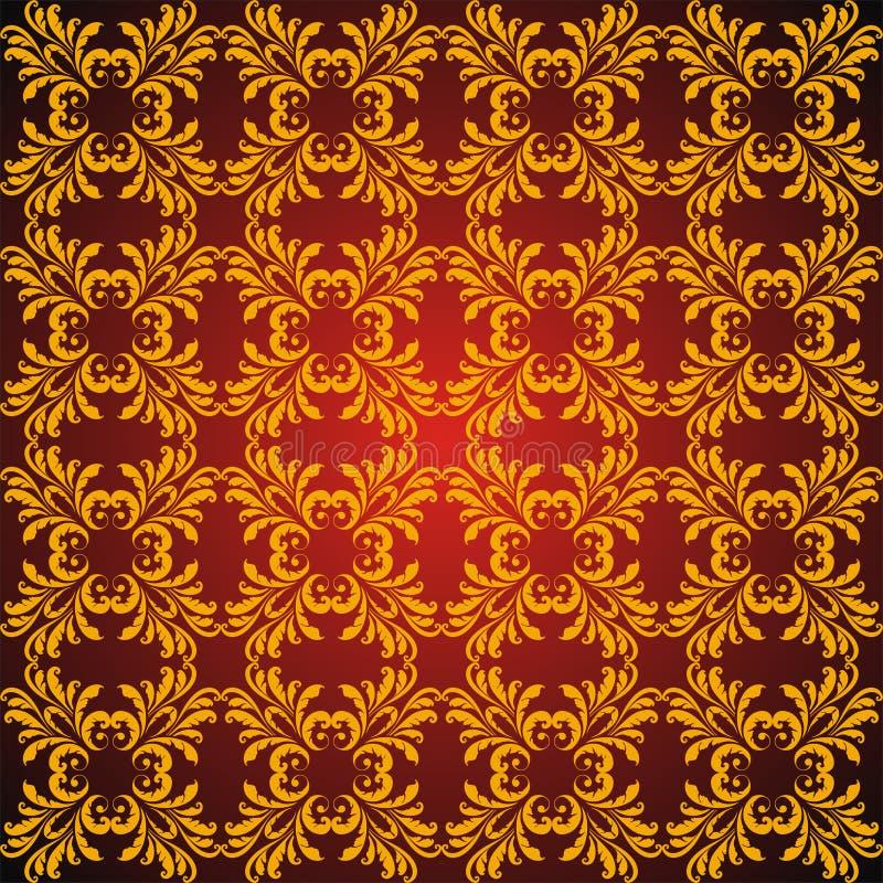 abstrakcjonistyczny złoty bezszwowy Orient deseniowy ilustracji