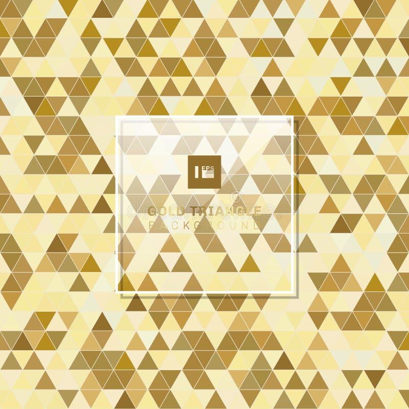 Abstrakcjonistyczny złoty geometryczny trójboka wzoru tła luksusu styl ilustracji