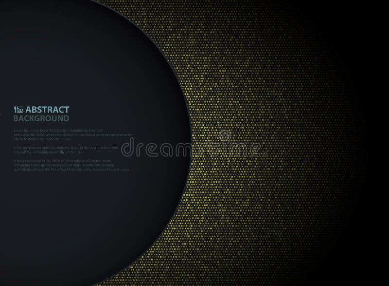Abstrakcjonistyczny złoty okrąg błyskotliwość wzoru projekt z lewego okręgu ciemnym tłem kopii przestrzeń Dekorować w papieru cię royalty ilustracja