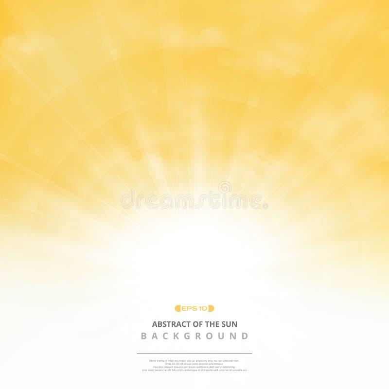 Abstrakcjonistyczny złoty słońce z chmurami na miękkim złocistym nieba tle Ty możesz używać dla poczta teksta, kopii przestrzeń,  ilustracji