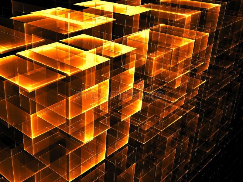 Abstrakcjonistyczny złoty sześcianu tło - cyfrowo wytwarzający wizerunek ilustracji
