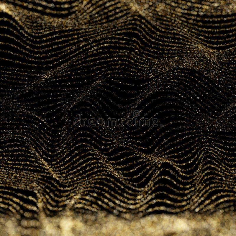 abstrakcjonistyczny z?oty bokeh na czarnym tle Digital fala cz?steczek forma dla cyfrowego t?a 10 eps ilustracja wektor