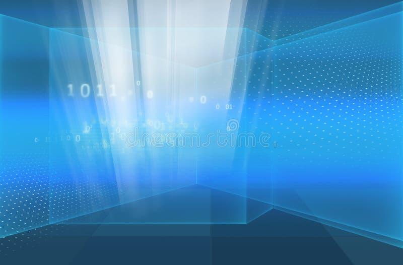 Abstrakcjonistyczny zaawansowany technicznie ekran z binarnymi kodami, cyfrowy świat ilustracji