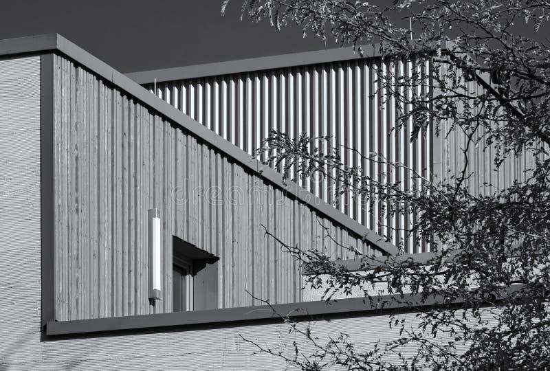 Abstrakcjonistyczny zakończenie strzał dach nowożytny budynek obramiający drzewnym monochromem fotografia stock