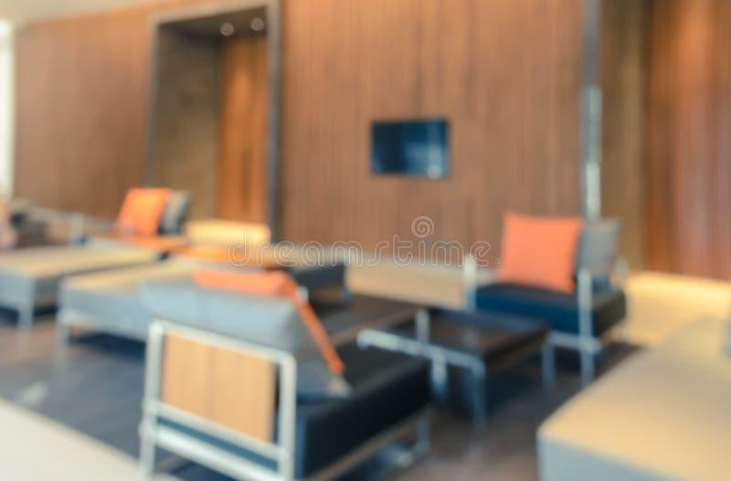 Abstrakcjonistyczny zamazany wewnętrzny hotelu lobby tło zdjęcie stock