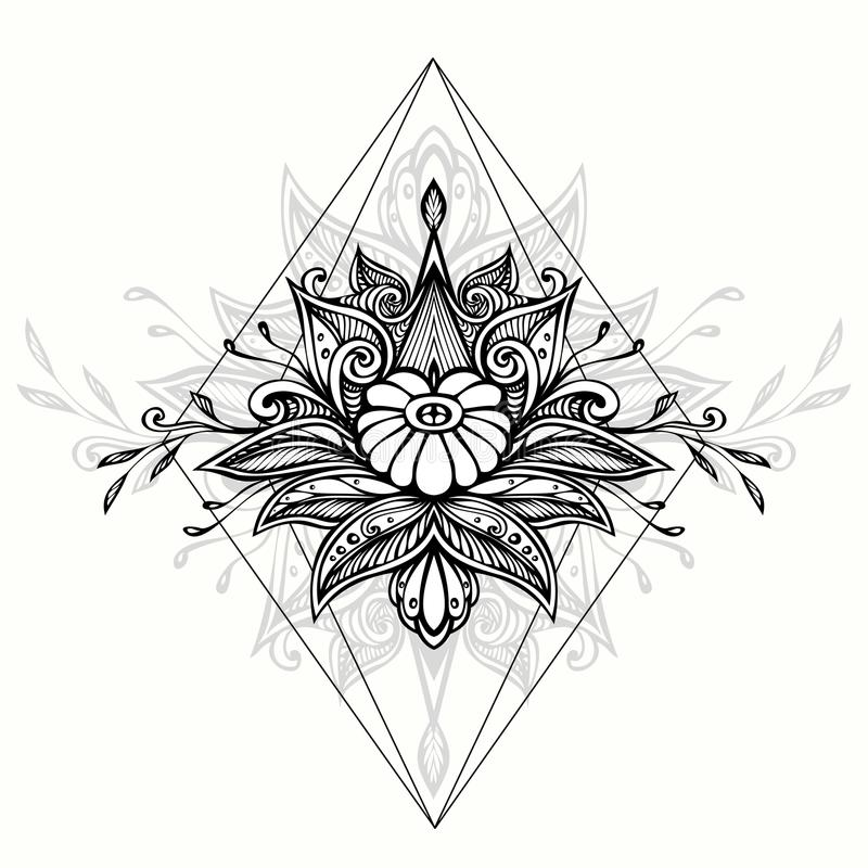 Abstrakcjonistyczny Zen gmatwaniny Zen doodle symbol w Boho stylu dla tatuażu czerni na bielu ilustracja wektor