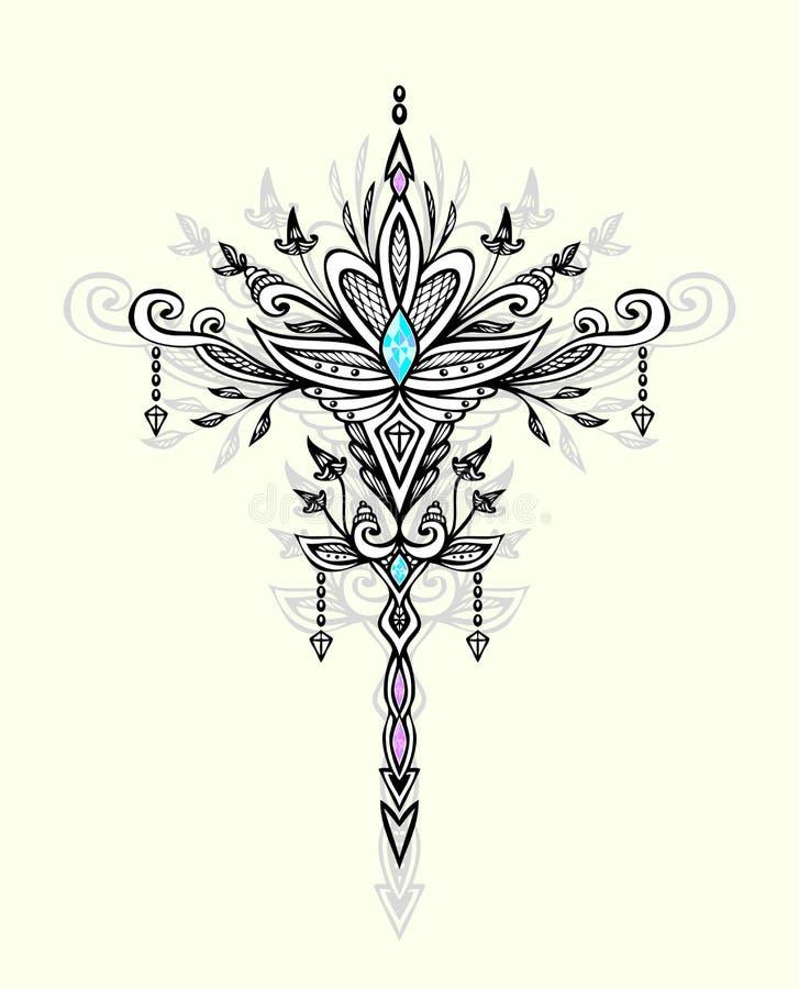 Abstrakcjonistyczny Zen gmatwaniny symbol w Boho stylu z klejnotami dla tatuażu czerni na bielu royalty ilustracja