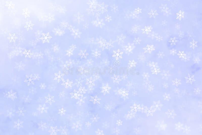 Abstrakcjonistyczny zimy tło z śnieżny płatków spadać fotografia stock