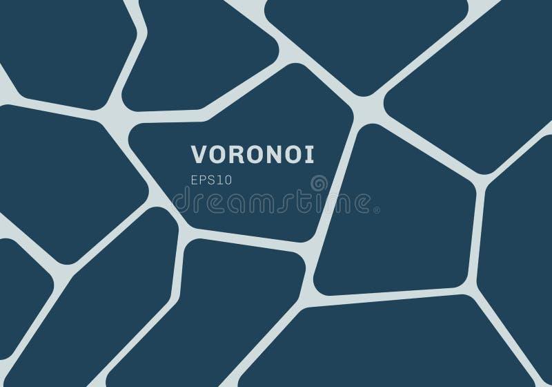 Abstrakcjonistyczny zmrok - błękitny voronoi diagrama tło Geometryczny mozaiki tło, tapeta i ilustracja wektor