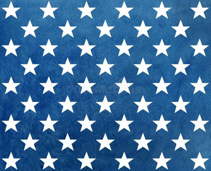 Abstrakcjonistyczny zmrok - błękitny akwarela wzór z białymi gwiazdami ilustracja wektor