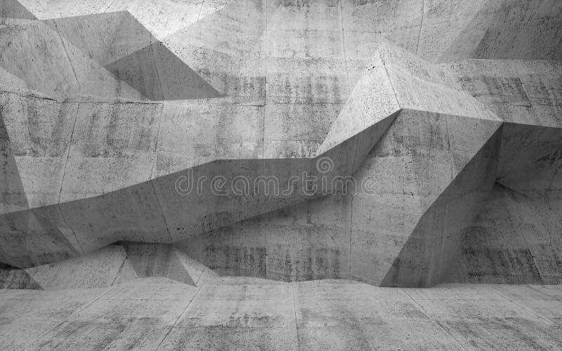 Abstrakcjonistyczny zmroku betonu 3d wnętrze z poligonalnym wzorem dalej ilustracji
