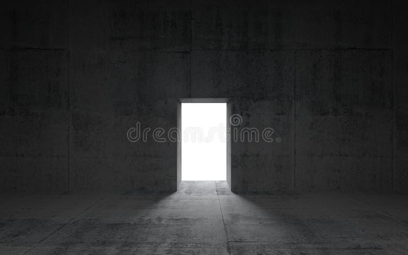 Abstrakcjonistyczny zmroku betonu wnętrze z rozjarzonym drzwi ilustracji