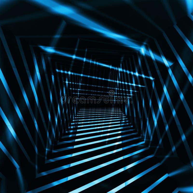 Abstrakcjonistyczny zmroku 3d wnętrze z błękitnej nocy lekkimi promieniami ilustracji