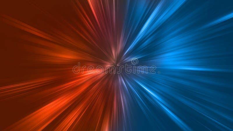 Abstrakcjonistyczny zoom zaświeca z kolorem ogienia i lodu element vs przeciw each innemu tłu Upału i zimna pojęcie royalty ilustracja