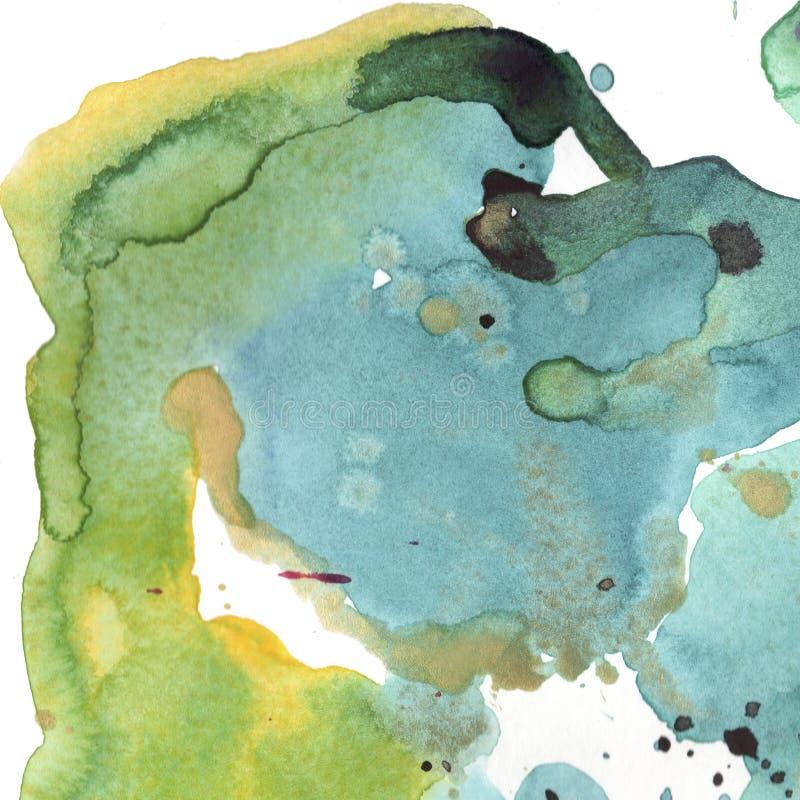 Abstrakcjonistycznych akwarela papieru pluśnięcia kształtów odosobniony rysunek Ilustracyjny aquarelle dla tła ilustracja wektor