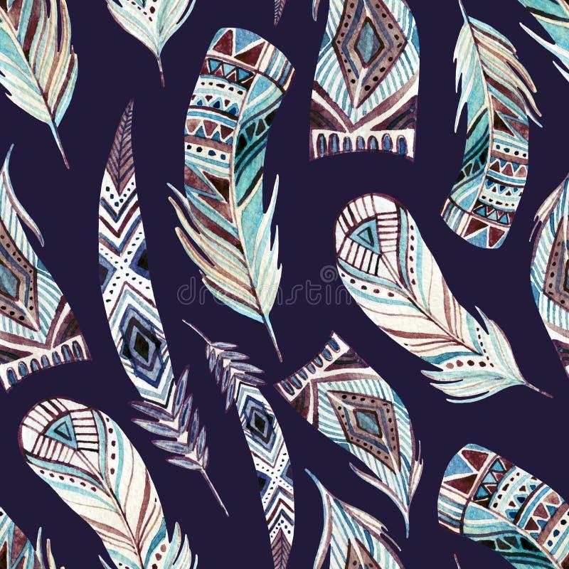 Abstrakcjonistycznych akwareli plemiennych piórek bezszwowy wzór ilustracji