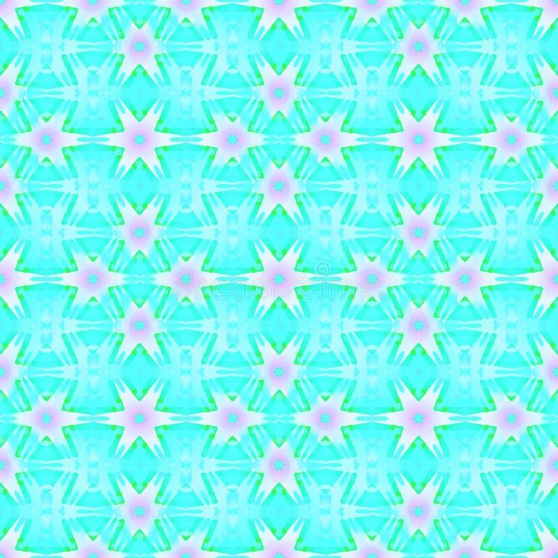 Abstrakcjonistycznych bezszwowych gwiazda wzoru menchii turkusu fiołkowa zieleń royalty ilustracja