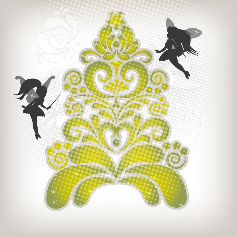 abstrakcjonistycznych bożych narodzeń czarodziejski mały nowy drzewny yea ilustracja wektor