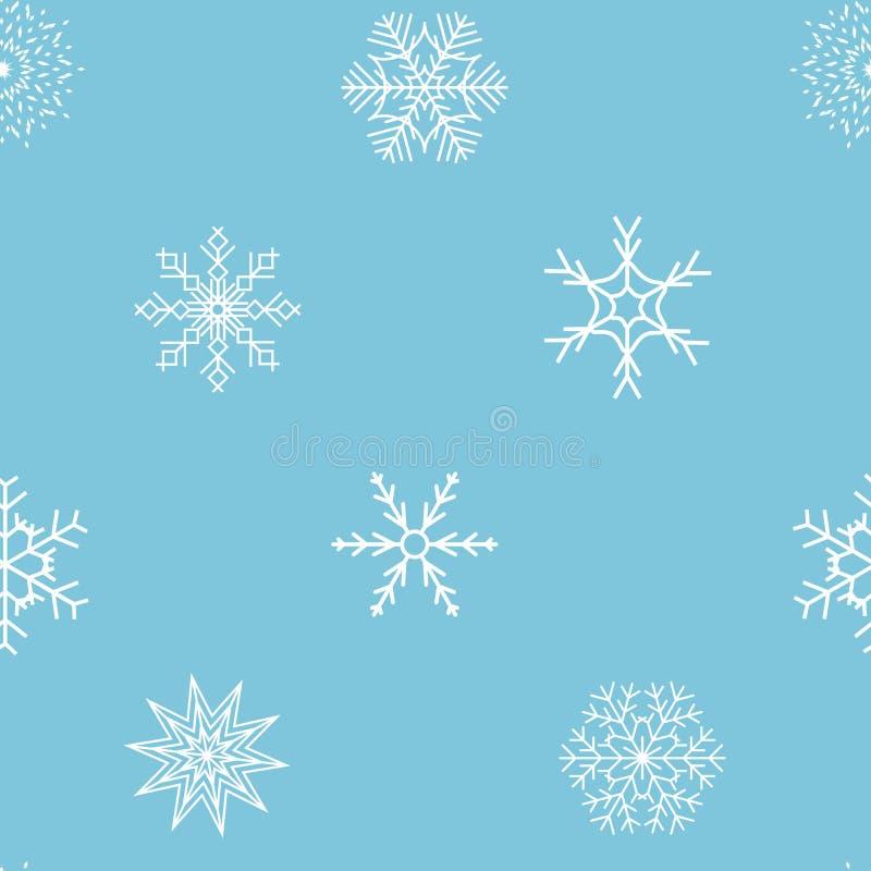 Abstrakcjonistycznych bożych narodzeń i nowego roku płatek śniegu Bezszwowy tło ilustracji