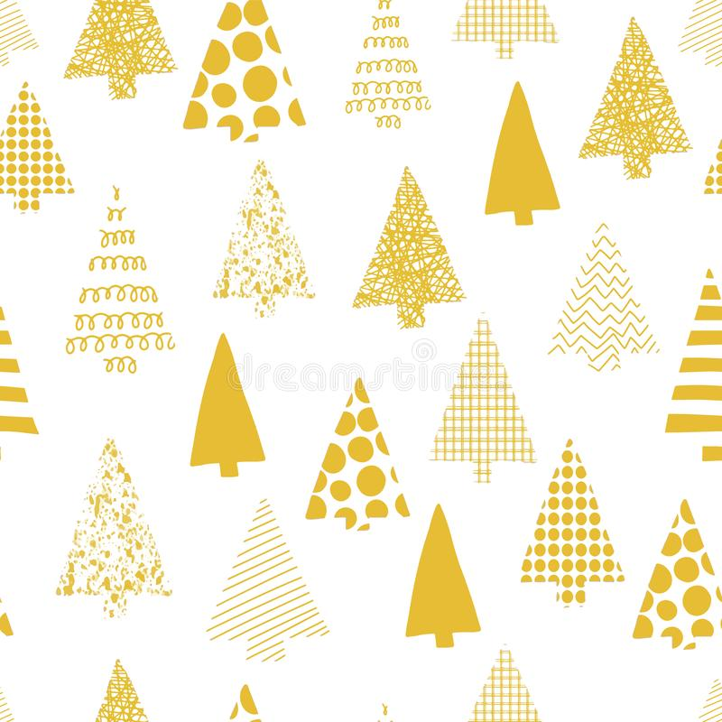 Abstrakcjonistycznych choinek wektorowy bezszwowy wzór choinek sylwetki złociste na białym tle boże narodzenia projektują nowożyt ilustracja wektor