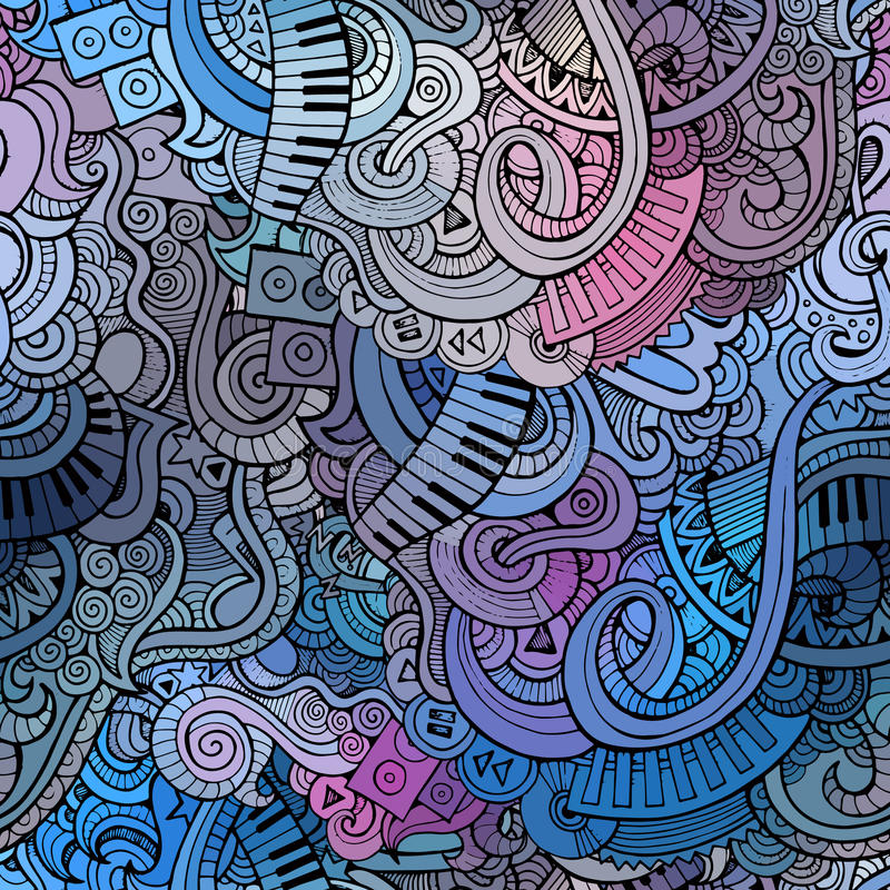 Abstrakcjonistycznych dekoracyjnych doodles muzyczny bezszwowy wzór ilustracja wektor