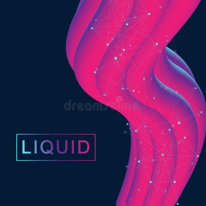 Abstrakcjonistycznych fluidu 3d kształtów wektorowy modny ciecz barwi tła ustawiających Barwiona rzadkopłynna graficzna skład ilu royalty ilustracja