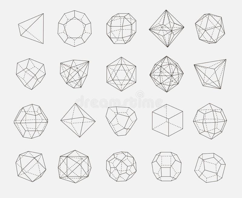 Abstrakcjonistycznych geometria kształtów konturu wektorowy set obrazy royalty free