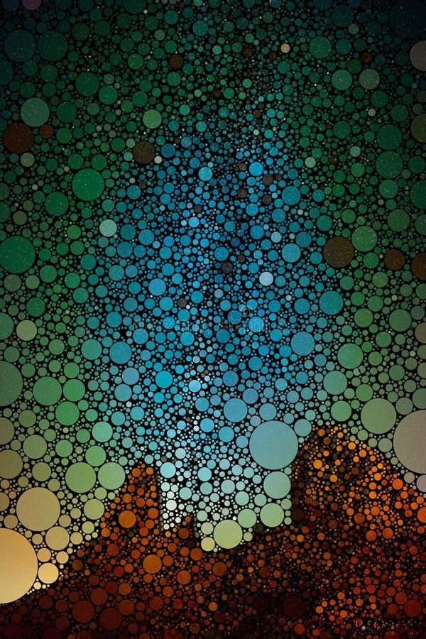 Abstrakcjonistycznych geometrical okregów sceny ściany pustynna sztuka ilustracji